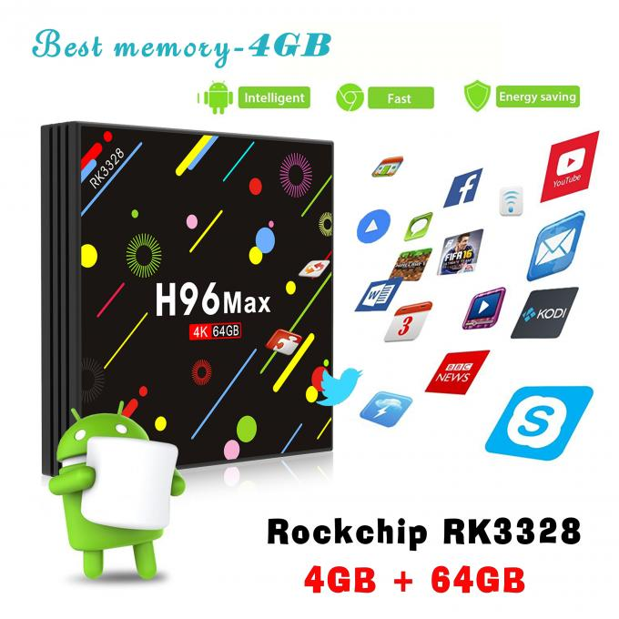 H96 max 4G 64G RK3328 Android 7.1 KODI17.3 with 5G wifi and led screen tv box