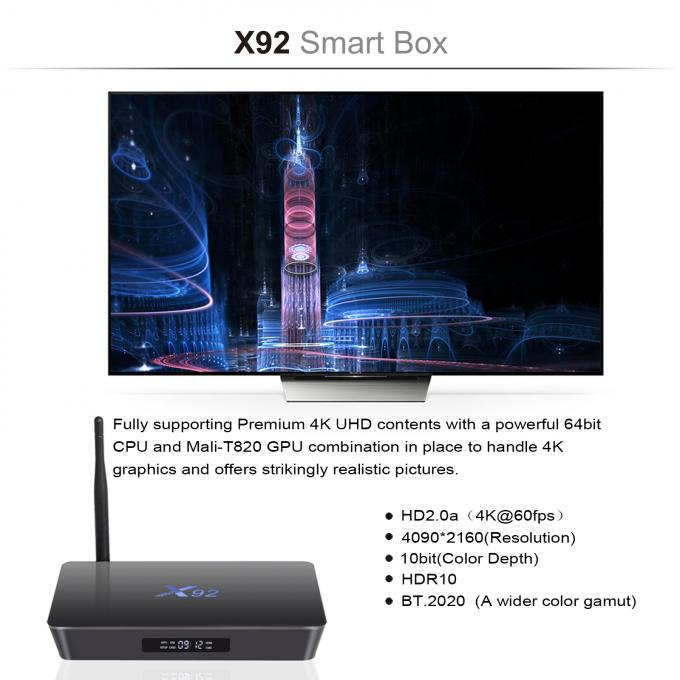 X92 Amlogic S912 Wifi 2.4G/5GHz Android 7.1 TV Box KODI 17.3 Installed