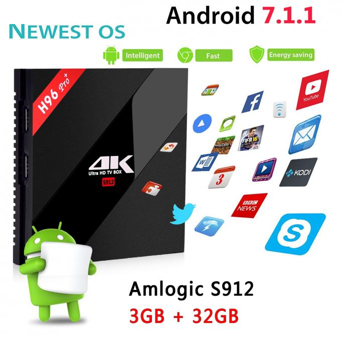 H96 Pro+ Amlogic S912 Dual Wifi KODI 17.3 Pre-installed Android 7.1 TV Box