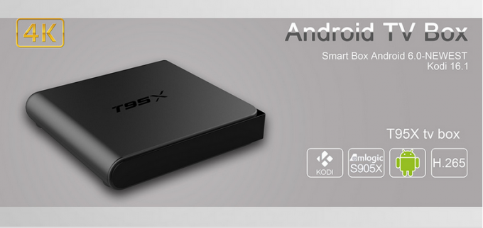Plastic T95x Amlogic Android Tv Box Add - Ons Preinstalled Black Color